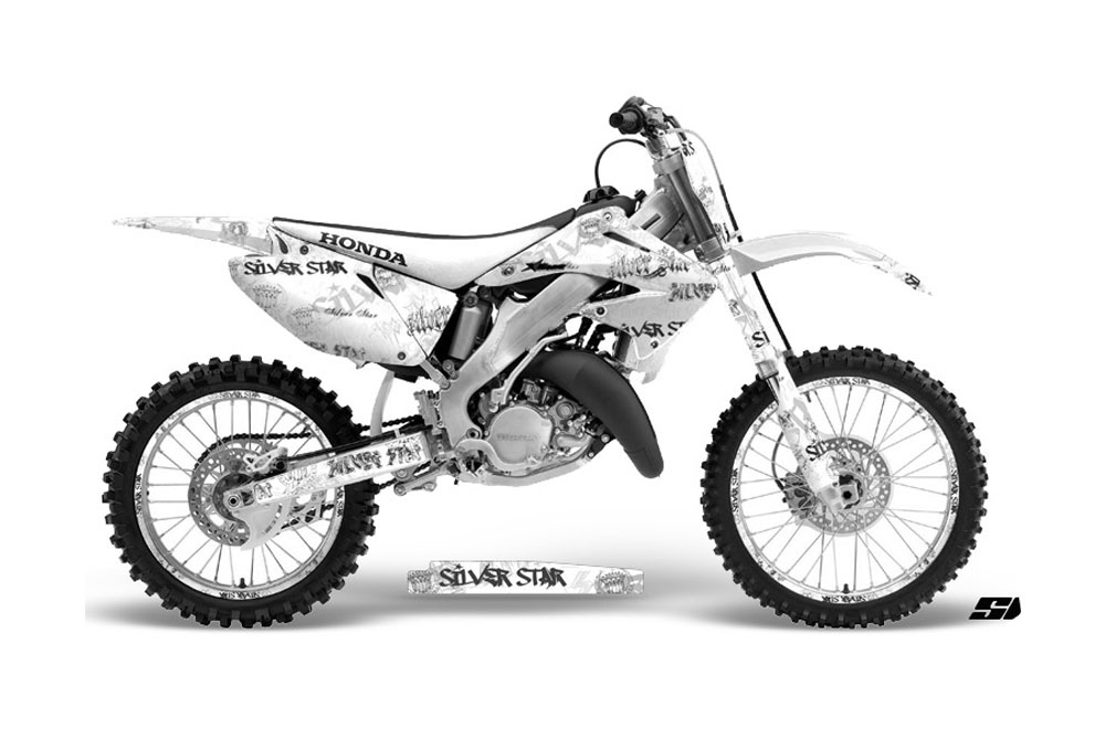 honda cr125 dirt bike graphics  silver star silver haze