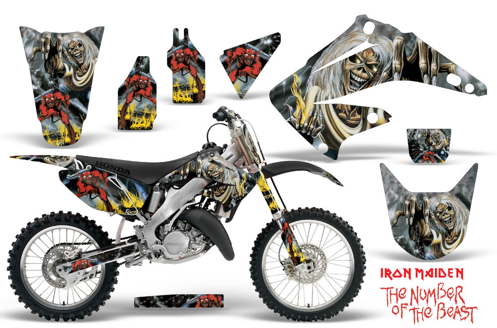 Honda CR Dirt Bike Graphics Iron Maiden Number Of The Beast - Decal graphics for dirt bikes