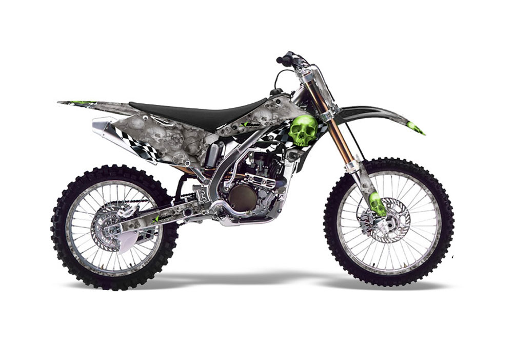 kawasaki kx250f dirt bike graphics  checkered skull