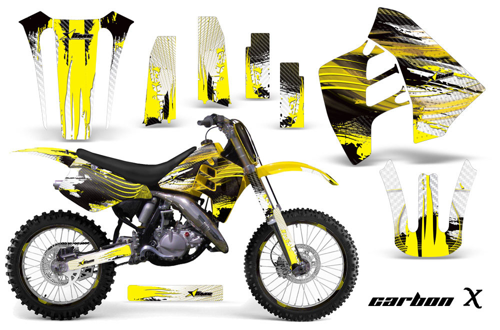 Suzuki RM 125 Dirt Bike Graphics: Carbon X - Yellow MX Graphic Wrap